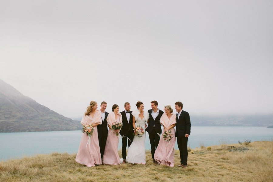 Jess and Jeff's gorgeous bridal party at their Queenstown destination wedding at Jack's Point. Such a stunning Queenstown wedding venue! Photographed beautifully by Queenstown wedding photographers Alpine Image Company.