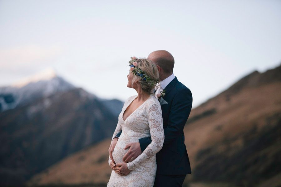 A beautiful shot of Dayle and Joshua from their Queenstown destination wedding photographed by Queenstown wedding photographers Alpine Image Company.