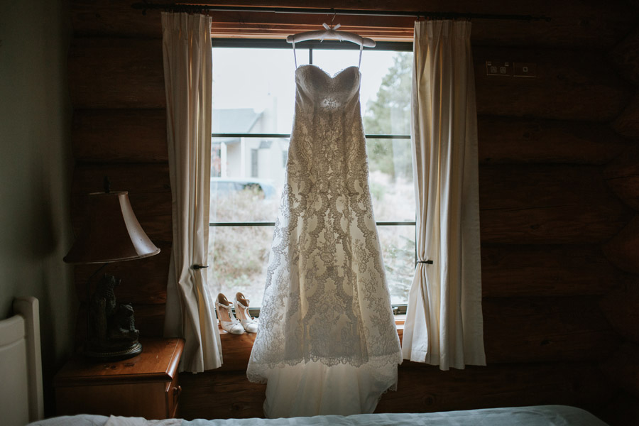 A beautiful shot of the wedding dress from Rebecca and Matt's Lake Ohau destination wedding photographed by New Zealand wedding photographers, Alpine Image Company.