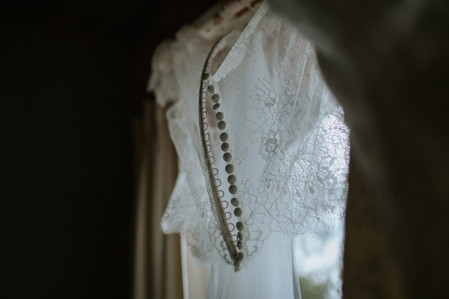 Pretty dress details from Rebecca and Matt's Lake Ohau destination New Zealand wedding captured by Wanaka wedding photographers Alpine Image Company.