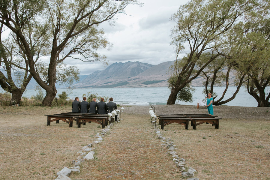 A stunning wedding ceremony set up at Lake Ohau for Rebecca and Matt's destination wedding captured by Lake Ohau wedding photographers Alpine Image Company.