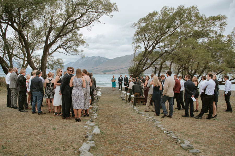 Such a gorgeous backdrop from Rebecca and Matt's Lake Ohau destination wedding captured by Lake Ohau wedding photographers Alpine Image Company.