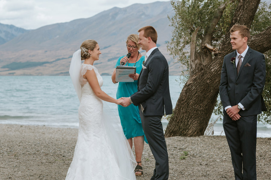 A gorgeous wedding ceremony photo by Lake Ohau wedding photographers Alpine Image Company.