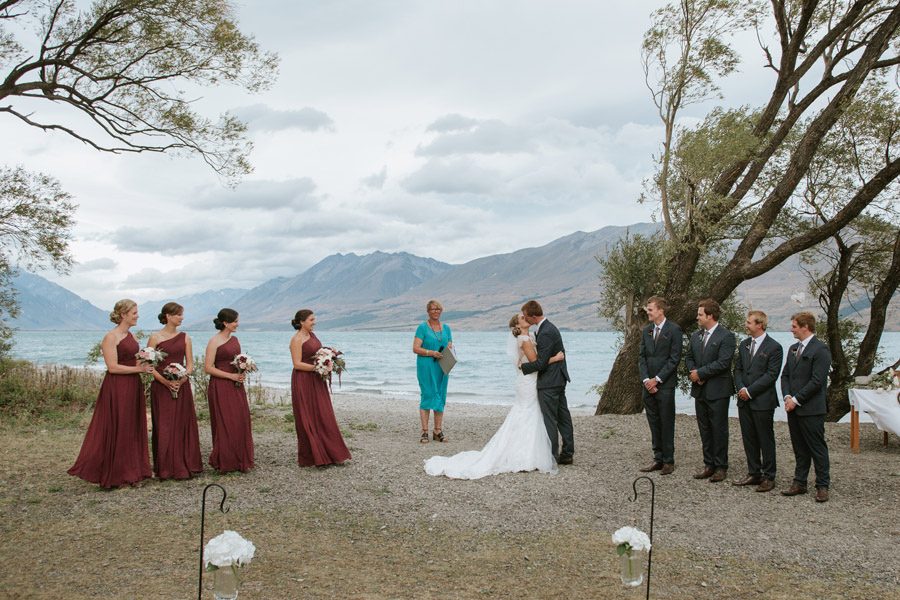 Beautiful wedding ceremony moments from Rebecca and Matt's Lake Ohau destination wedding captured by Lake Ohau wedding photographers Alpine Image Company.