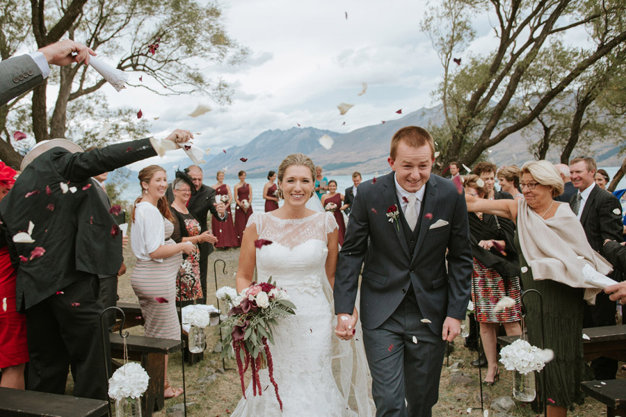 A stunning wedding photo from Rebecca and Matt's Lake Ohau destination wedding captured by Wanaka wedding photographers Alpine Image Company.