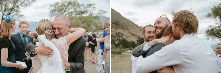 Gorgeous candid moments from this wedding ceremony at Lake Ohau photographed by Wanaka wedding photographers Alpine Image Company.