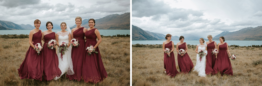 Beautiful bridesmaids from Rebecca and Matt's gorgeous Lake Ohau wedding in New Zealand captured by Lake Ohau wedding photographers, Alpine Image Company.