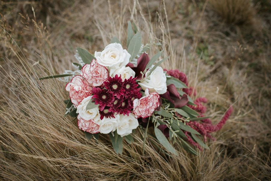 A beautiful autumn wedding bouqet from Rebecca and Matt's Lake Ohau destination wedding captured by Wanaka wedding photographers.