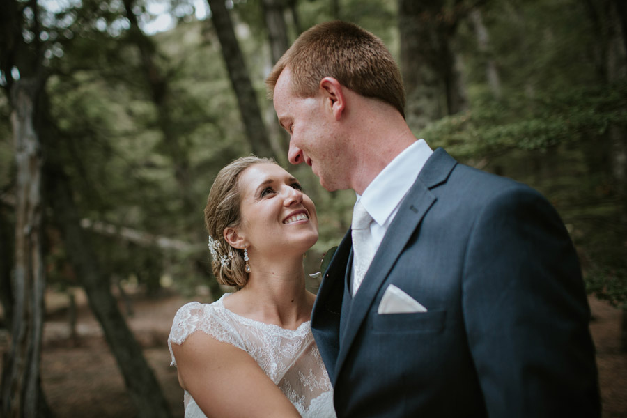 A gorgeous and romantic moment from Rebecca and Matt's Lake Ohau destination wedding captured by Wanaka wedding photographers Alpine Image Company.