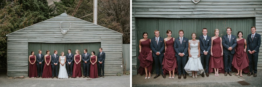 The bridal party looking at gorgeous from Rebecca and Matt's Lake Ohau destination wedding photographed by Wanaka wedding photographers Alpine Image Company.