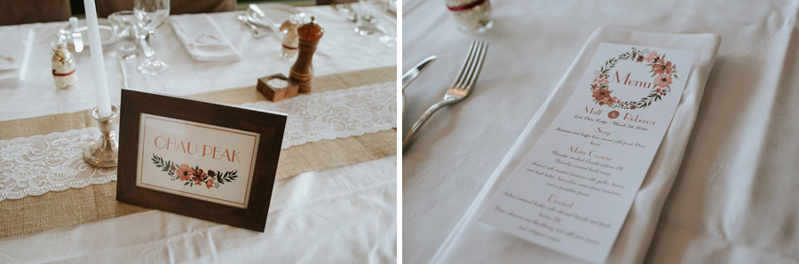 Gorgeous wedding reception details captured by Wanaka wedding photographers Alpine Image Company.