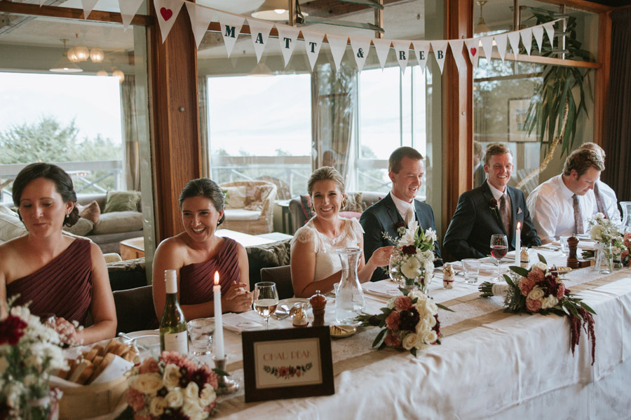The Bride and Groom at their wedding reception at Lake Ohau Lodge, New Zealand captured by Wanaka wedding photographers Alpine Image Company.