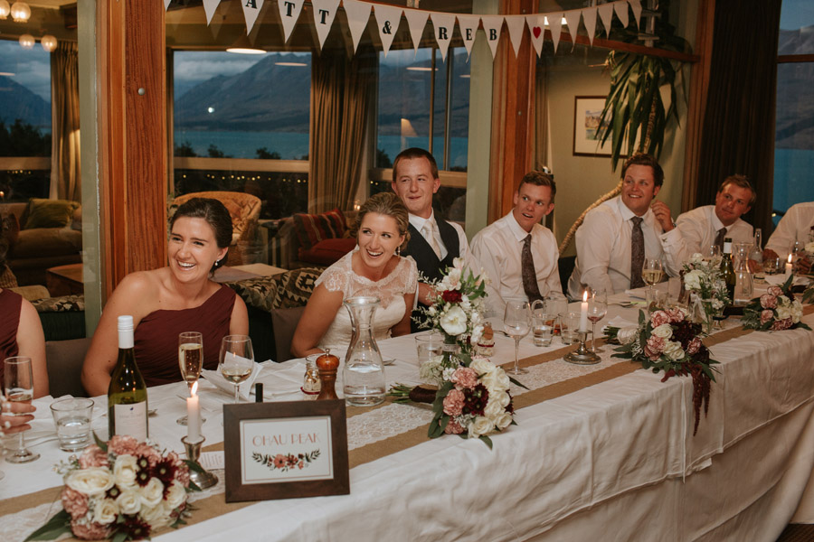 Wedding reception photos from this gorgeous Lake Ohau Lodge wedding captured by Lake Ohau wedding photographers Alpine Image Company.