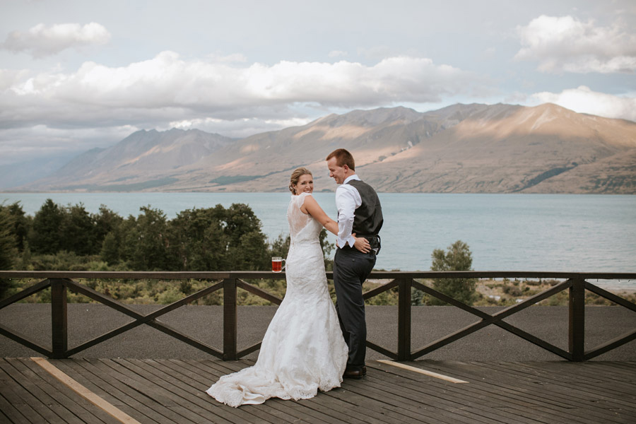 Rebecca and Matt on their wedding day at Lake Ohau Lodge captured by New Zealand wedding photographers Alpine Image Company.