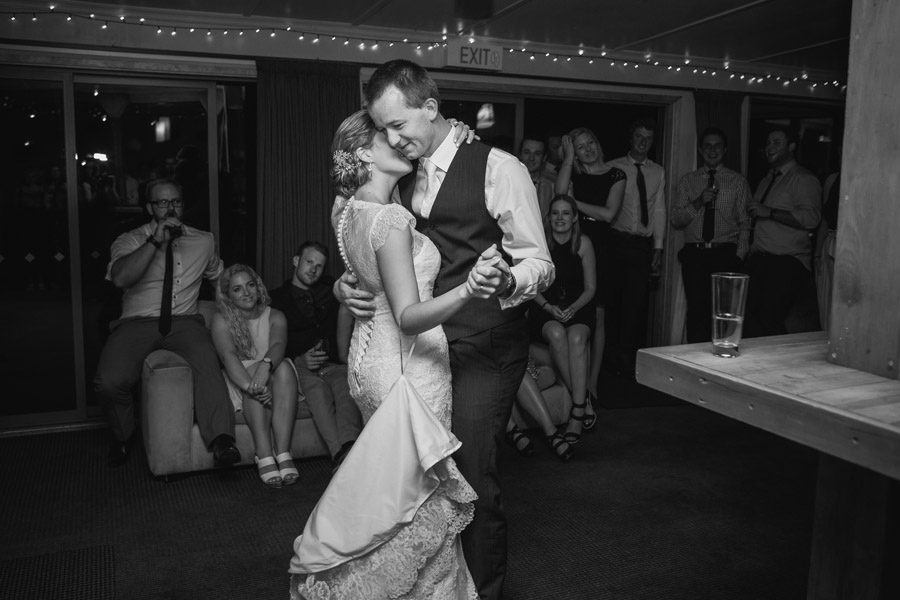 Gorgeous first dance wedding moments from Rebecca and Matt's Lake Ohau destination wedding captured by Wanaka wedding photographers Alpine Image Company.