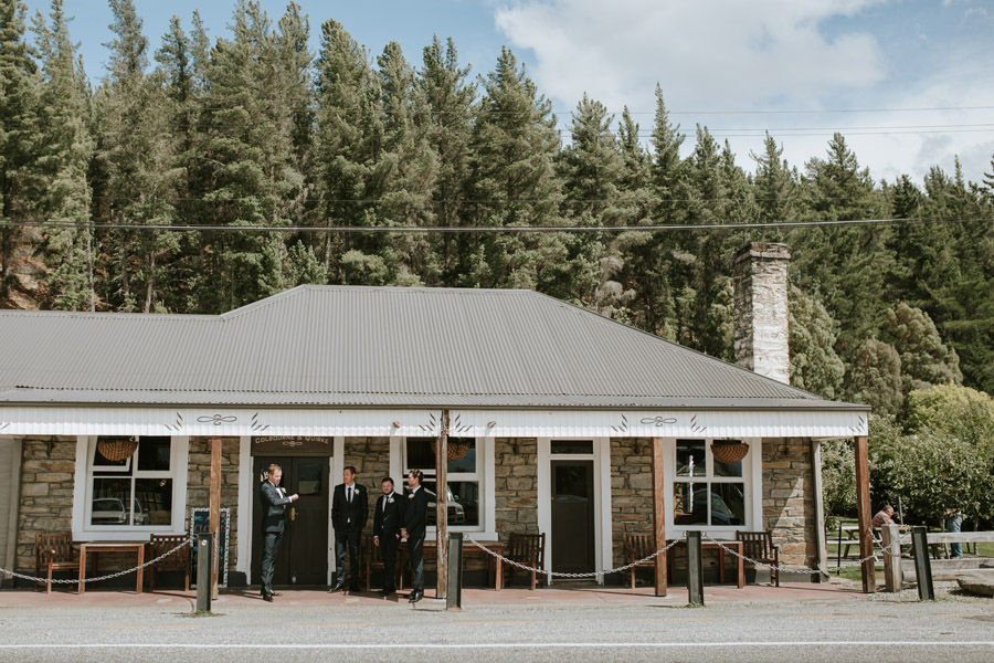 The groom and the boys waiting on the wedding date in Luggate/Wanaka, New Zealand. Image by Wanaka wedding photographer Alpine Image Company.