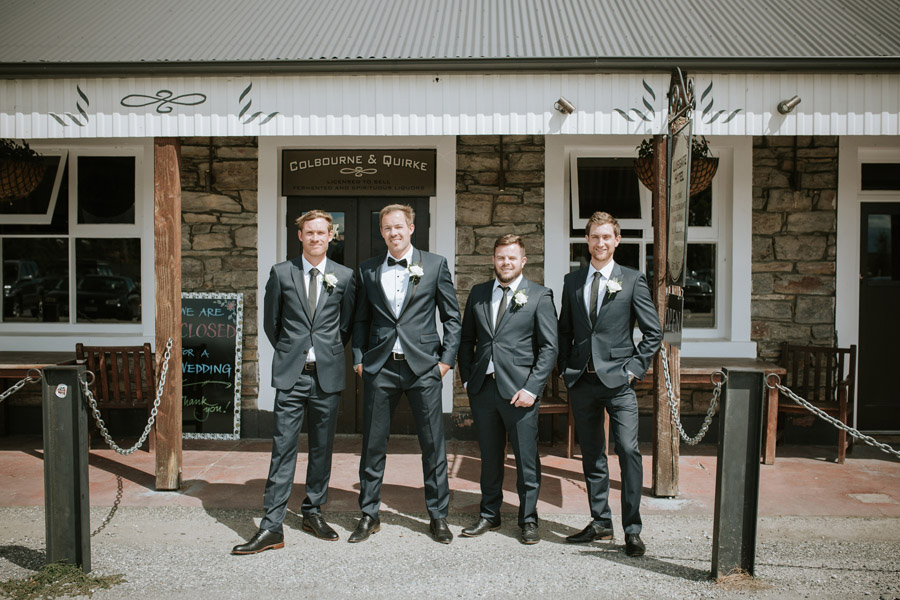 The boys looking handsome on Kelsey and Matt's Wanaka wedding day captured by Wanaka wedding photographers Alpine Image Company.