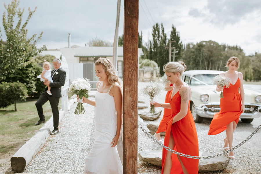 The bride just before her wedding ceremony at Luggate Pub, Wanaka, New Zealand captured by Wanaka wedding photographer Alpine Image Company.