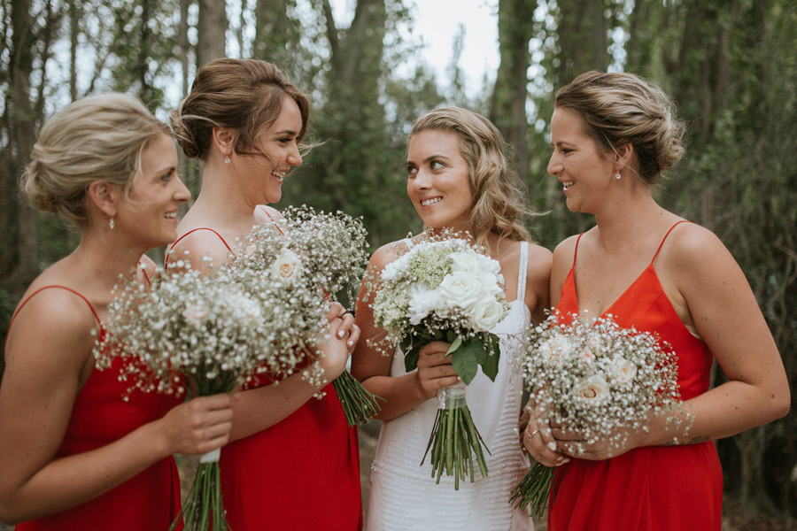 Kelsey and her pretty bridesmaids in Wanaka, New Zealand captured by Wanaka wedding photographers Alpine Image Company.