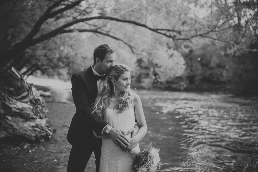 Black and white wedding photo moments by Wanaka wedding photographers Alpine Image Company.