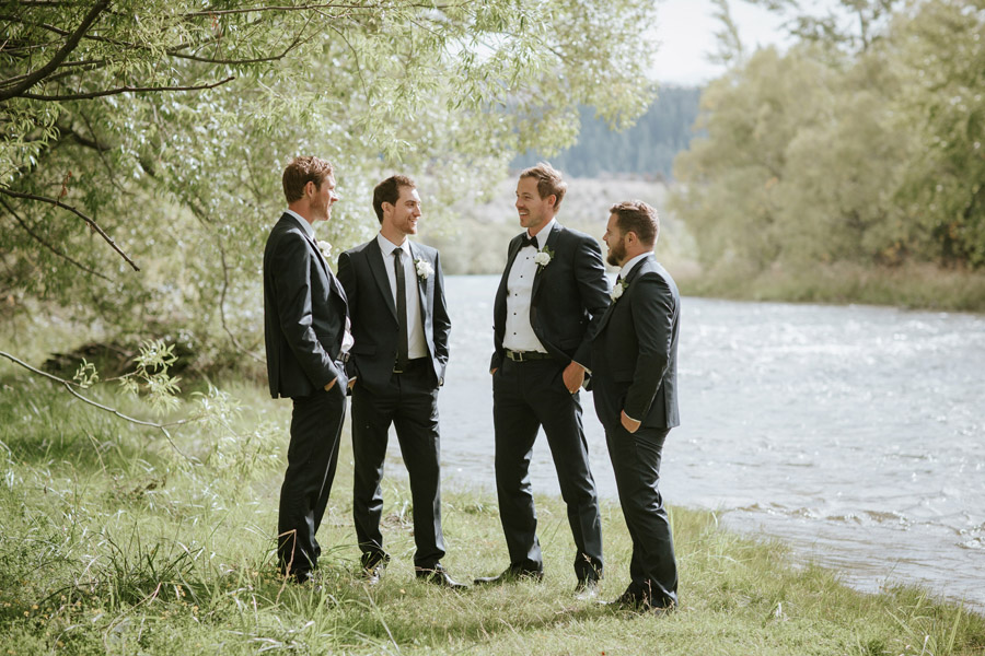 Matt and his groomsmen on his wedding day in Wanaka, New Zealand captured by Wanaka wedding photographers Alpine Image Company.