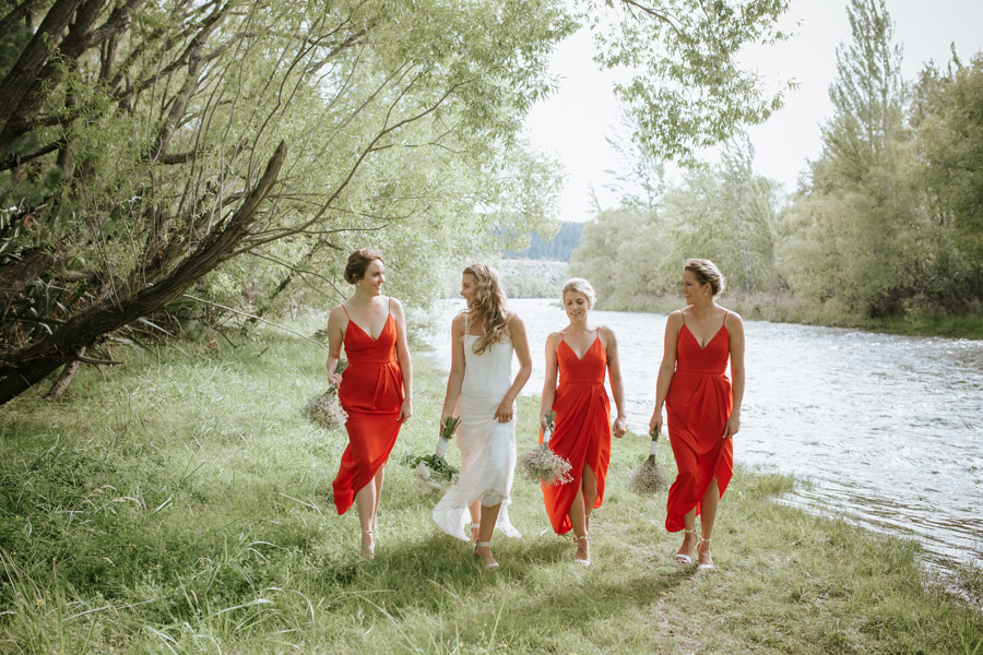 The girls on Kelsey and Matt's Wanaka wedding day by Wanaka wedding photographers Alpine Image Company.