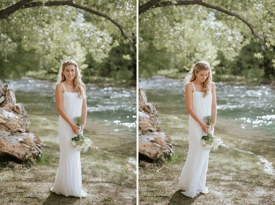 Our stunning Bride, Kelsey, by the Clutha River in Wanaka, New Zealand on her wedding day. Beautiful wedding photos by Wanaka wedding photographers Alpine Image Company.