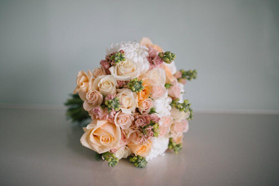 A Pretty bridal boquet in pale pinks and Peach