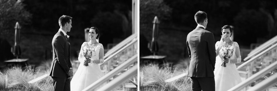 An emotional bride sees her groom for the first time