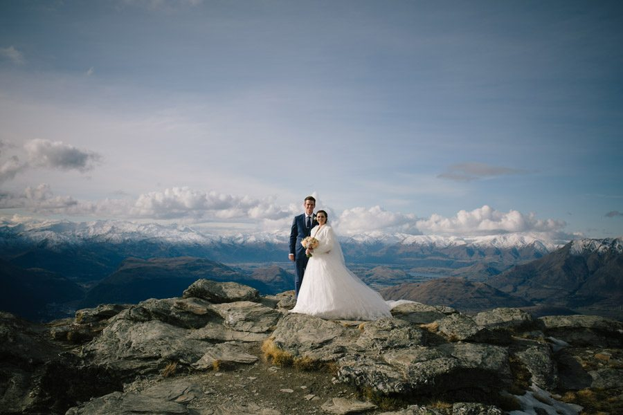 A beautiful couple taking in the scenery on their wedding day in Queenstown