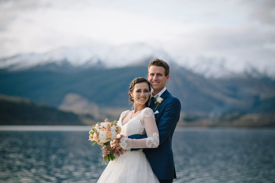 The happy couple at Lake Hayes