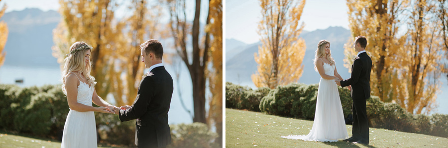 Estelle and Stas looking absolutely gorgeous on their Wanaka wedding day at Edgewater Resort photographed by Alpine Image Company.