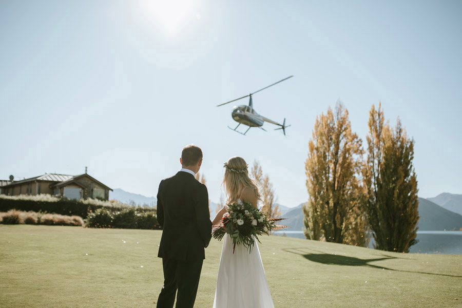A helicopter flight adds such an exciting element to your wedding day. Photo credit, Wanaka wedding photography studio Alpine Image Company.