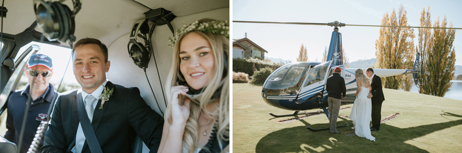 Fly away on your wedding day to the mountain top for some gorgeous wedding photos. Photo credit: Wanaka wedding photographers, Alpine Image Company.