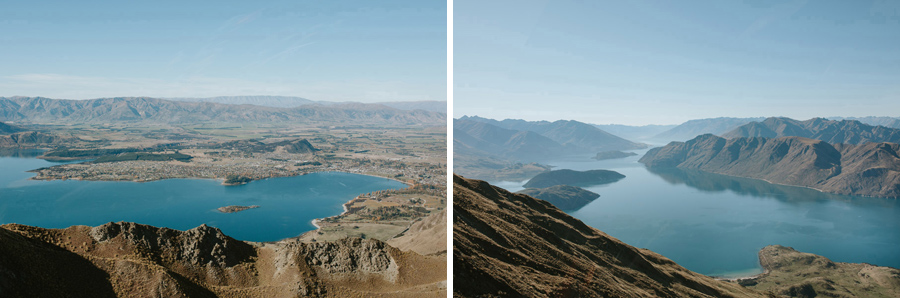 Lake Wanaka looking stunning from Mt Roy photographed by Wanaka wedding photographers, Alpine Image Company.