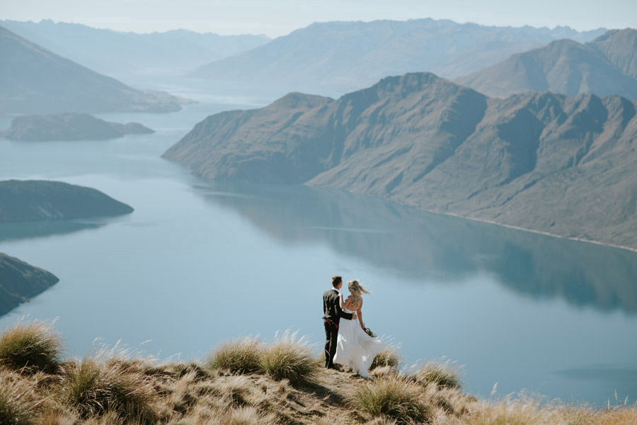 A beautiful Bride and Groom moment from this stunning autumn wedding photography by Wanaka wedding photographers Alpine Image Company.