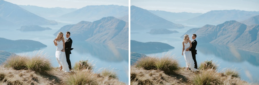 The Bride and Groom on top of a mountain for some gorgeous wedding photos, captured by Wanaka wedding photographers Alpine Image Company.