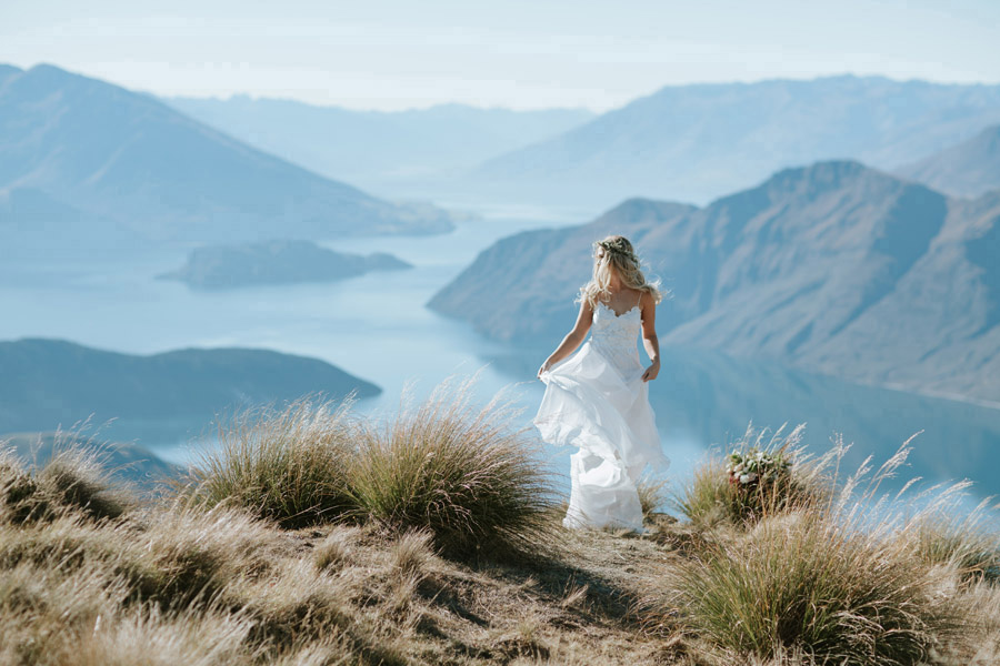 A beautiful bride on a gorgeous Wanaka day for her autumn wedding, photographed by Wanaka wedding photographers Alpine Image Company.