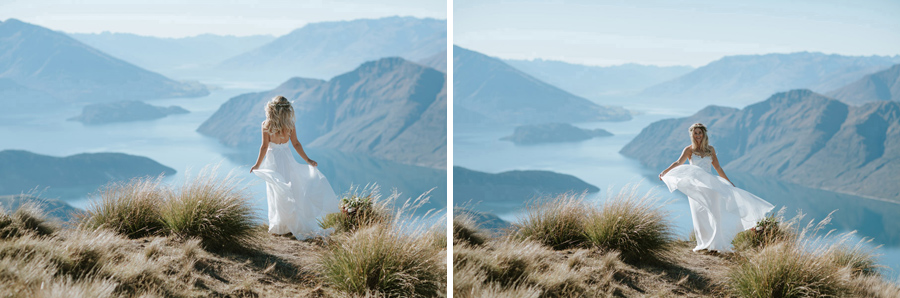 Estelle looking gorgeous on her Wanaka wedding day on Coromandel Peak, Mount Roy. Photo credit: Wanaka wedding photographers Alpine Image Company.