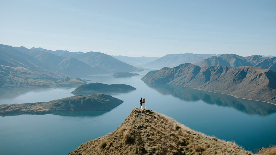 The famous peak shot on Estelle and Stas' Wanaka elopement wedding day. Photographed by Wanaka wedding photographers, Alpine Image Company.