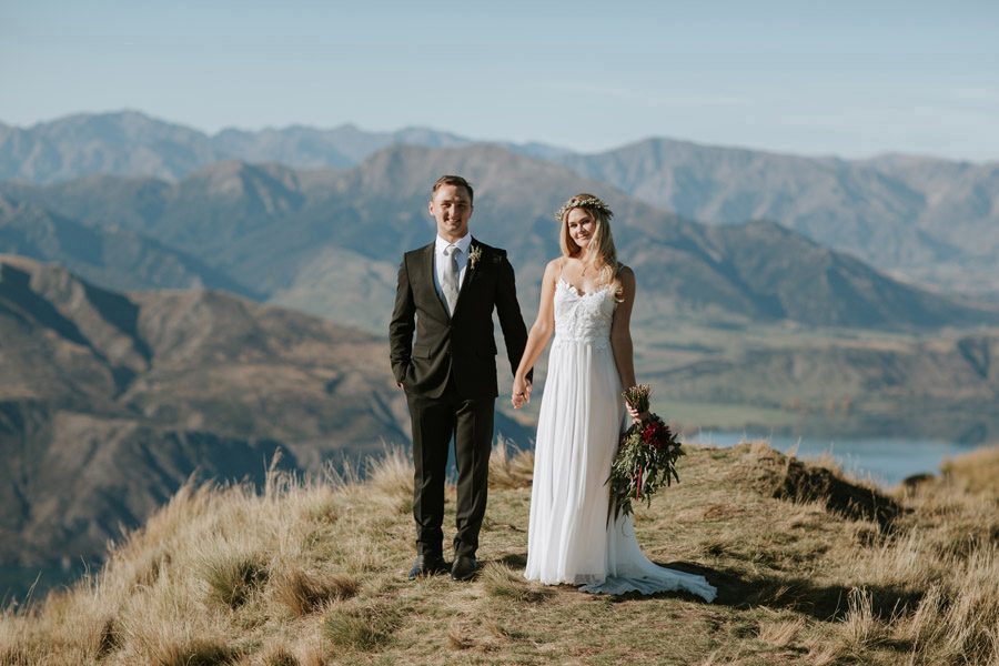 Such a gorgeous Bride and Groom on Mt Roy, Wanaka. Photography by Wanaka wedding photographers, Alpine Image Company.