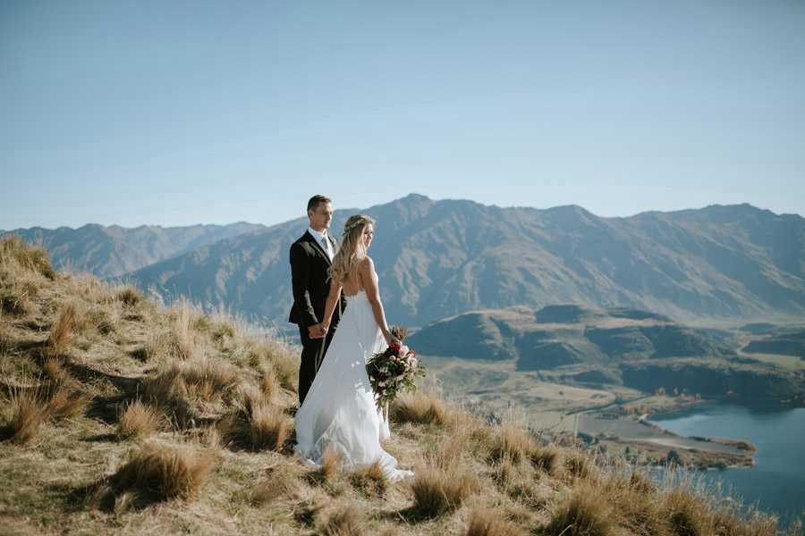 Estelle and Stas out and about on their wedding day for some gorgeous location photos with Wanaka wedding photographers Alpine Image Company.
