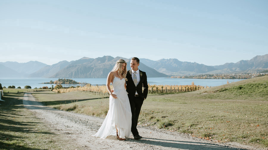 Estelle and Stas at the gorgeous Rippon Vineyard on their Wanaka wedding day. Photography by Wanaka wedding photographers Alpine Image Company.