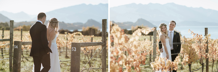 Golden leaves at the golden time of day on Estelle and Stas' Wanaka wedding by photographers, Alpine Image Company.