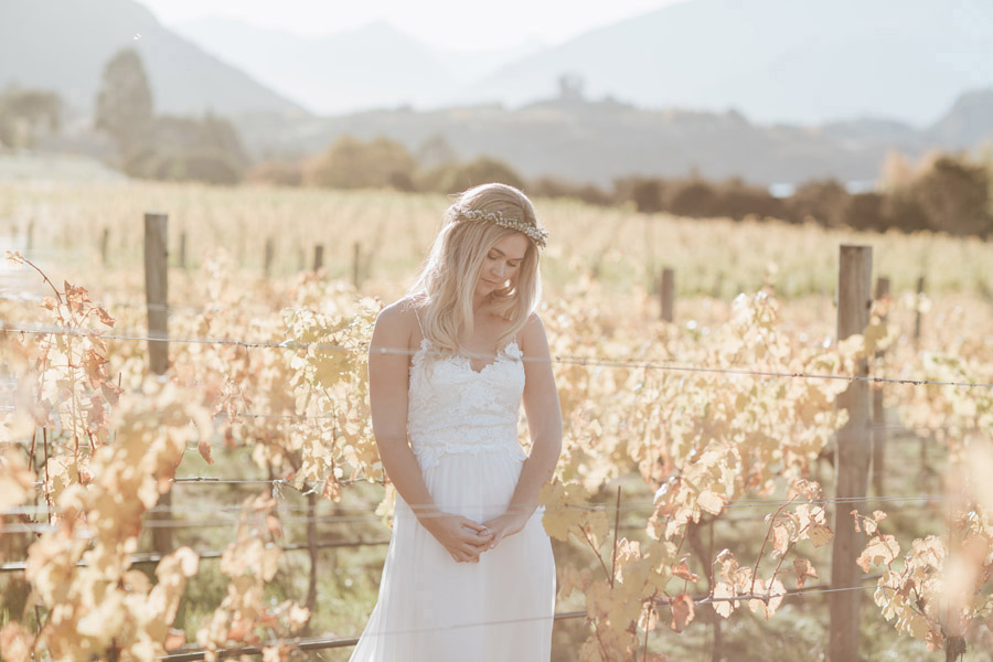 Our beautiful Bride Estelle looking gorgeous on her Wanaka wedding day. Photographed by Alpine Image Company.