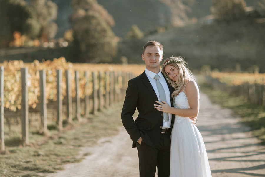 Our Bride and Groom, Estelle and Stas, looking gorgeous at the Rippon Vineyards on their wedding day. Photographed by Wanaka wedding photographers Alpine Image Company.