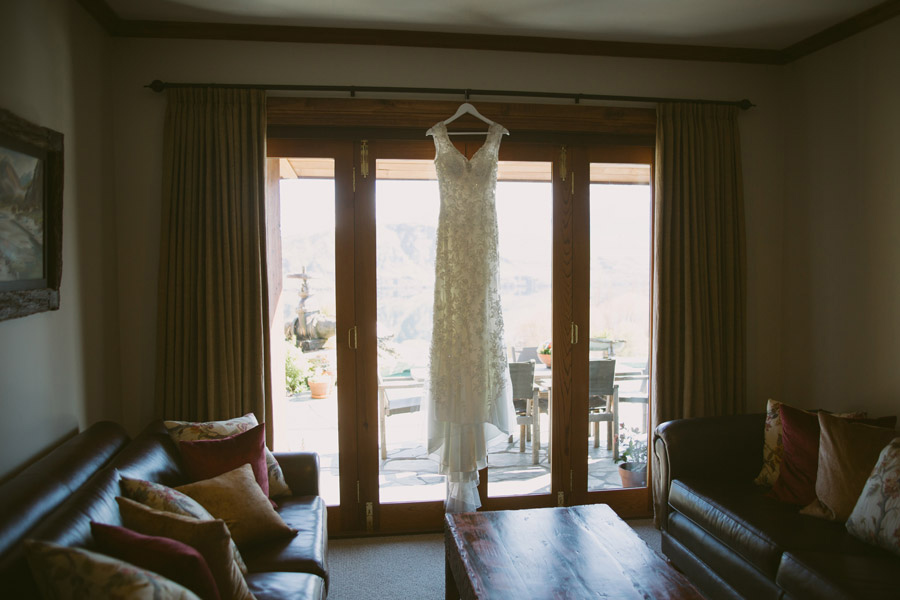 The wedding dress waiting for it's Bride at this Queenstown wedding by Alpine Image Company.