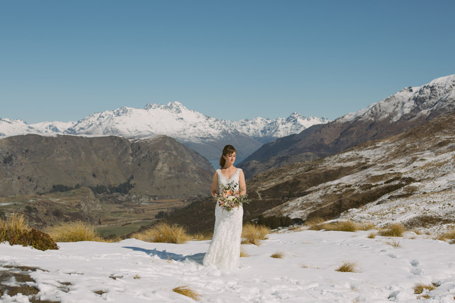 The beautiful Katie on her spring wedding day in Queenstown, New Zealand captured by Queenstown wedding photographer Alpine Image Company.