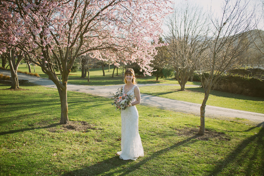 Beautiful spring wedding photos of Katie on her Queenstown wedding day by Alpine Image Company.