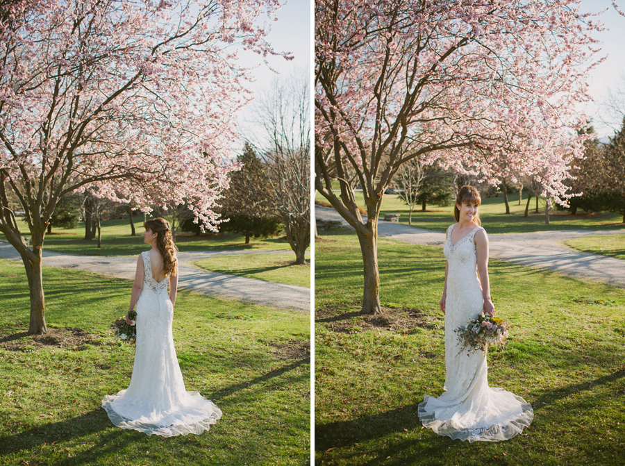 Our beautiful bride Katie, looking gorgeous under the blossoms on her Spring wedding day in Queenstown by Alpine Image Company.